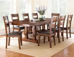 Dining Room Furniture For A Formal Long Medium Brown Table With Eight Chairs