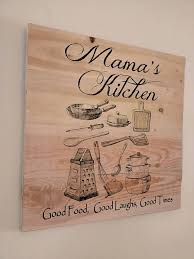 Personalized Kitchen Signs Wall Art Light Wood Board With Carved Words And