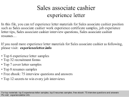 Sales Associate Cashier Experience Letter In This File You Can Ref Materials For Sample