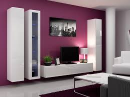 Purple Wall Color Modern Living Room White Coffee Table Cupboard Bookcase Tv Stand Lamp Sofa Design