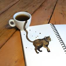 cat coffee cats painted with different types of coffee foodiggity