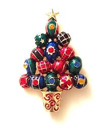 HamptonGems CHRISTMAS TREE PIN MULTI COLOR GIFT WRAP BALLS AND SCATTERED CRYSTALS GOLD STAR