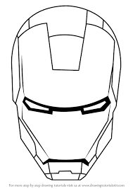 Learn How To Draw Iron Mans Helmet Man Step By Drawing Tutorials