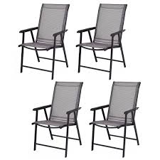100 Folding Chairs With Arm Rests Costway Costway Set Of 4 Outdoor Patio Camping Deck