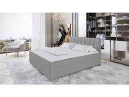 boxspringbett mit topper stoff siero 160 x 200 cm grau