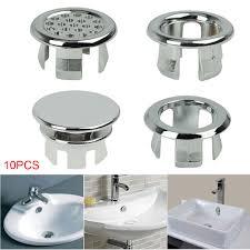 10 stücke kunststoff bad becken waschbecken überlauf ring silber einfü spüle zubehör runde küche ablauf kappe abdeckung für bad wasserhahn
