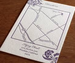 Letterpress Map And Directions Card To Coordinate With Wedding Invitation