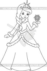 princess coloring page Winter princess coloring page white & black vector clipart