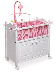 Badger Basket Doll Bed by Badger Basket Doll Crib With Cabinet Bedding And Mobile For 22