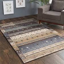 taleta moderner gabbeh teppich wohnzimmer mit hochflor bordüre bunt muster braun grau mehrfarbig größe 90 x 160 cm