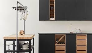 vadholma kitchen island with rack black oak ikea ikea