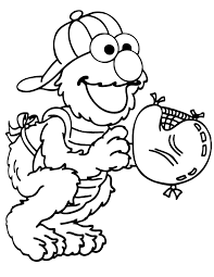 Baseball Catcher Elmo Coloring Page