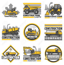 100 Construction Trucks Vintage Colored Construction Vehicles Emblems Set With Bulldozer