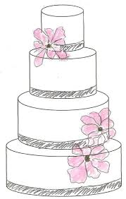 wedding cake clipart sketch – pencil and in color wedding cake