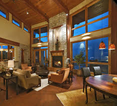 High Ceiling Windows Family Room Traditional With Fireplace Cutout Brown Floor Tall
