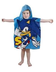 Image Is Loading Sonic Sprint Poncho Kids Hooded Swimming Beach Towel