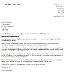 Staff Nurse Cover Letter Example
