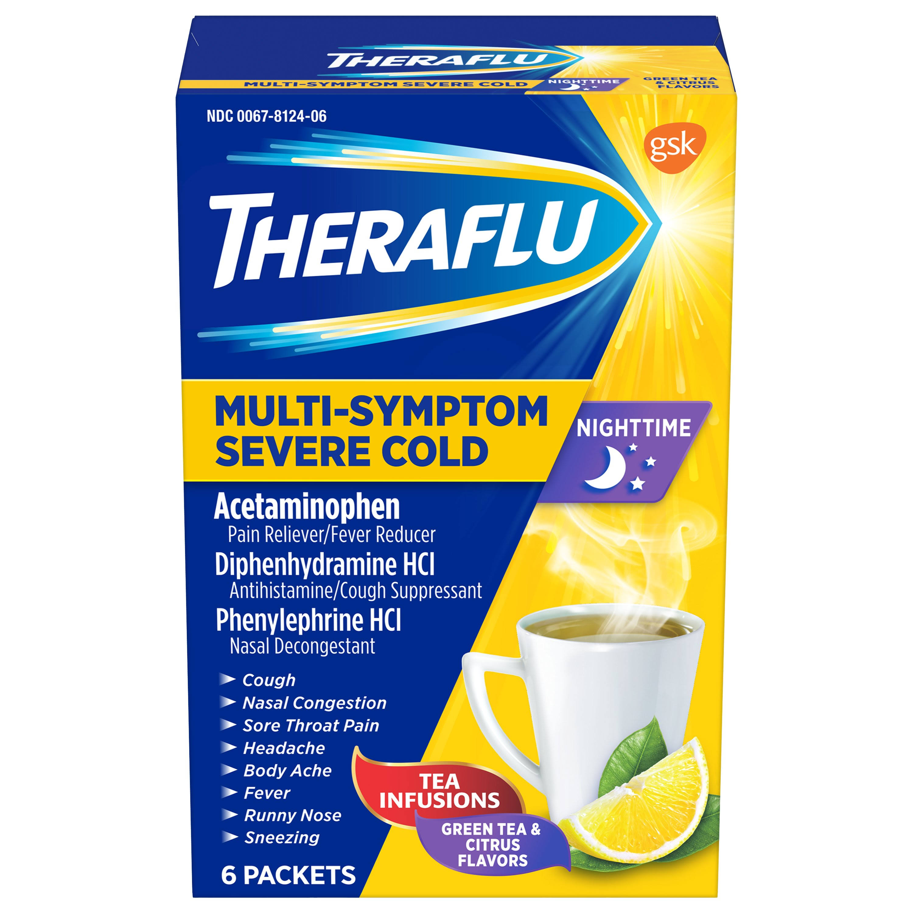 Theraflu Nightime Multi-Symptom Severe Cold - 6 Packets, Green Tea & Citrus