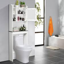 costway waschmaschinenschrank mit verstellbarem regal und offenem fächern toilettenschrank mit glastür und marmor platte überbauschrank bad