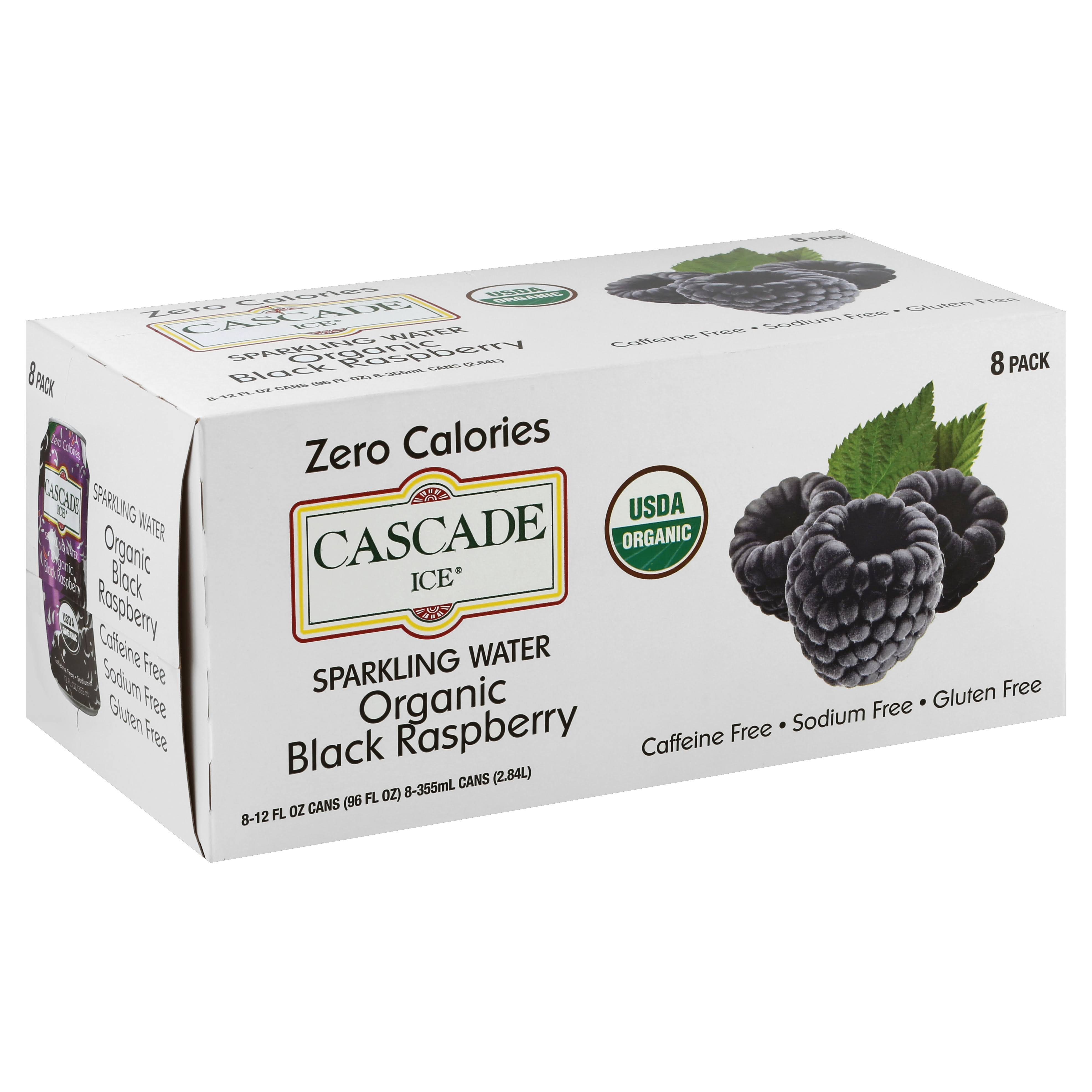 Cascade Ice Sparkling Water, Organic, Black Raspberry, 8 Pack - 8 pack, 12 fl oz cans