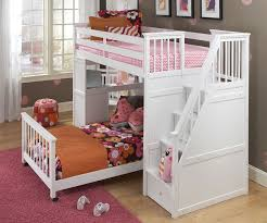 School House Stair Loft Bunk Bed White Bed Frames