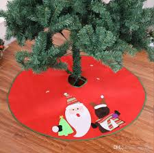 90cm Green Edge Christmas Tree Skirt Home Supermarket Embroidered Santa Claus Apron Ornament Decoration Decorate