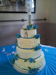 White Blue And Silver Wedding Cake By Cupcake Killer