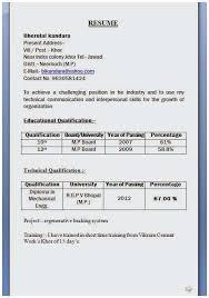 Mechanical Diploma Resume Format For Freshers Latest Engineer Fresher