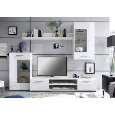 4 teilige wohnwand weiß hochglanz 240 cm