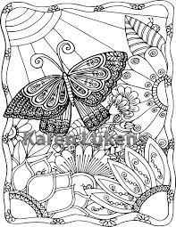 5 Pages Butterfly Garden Pack 1 Adult Coloring Book Printable Instant Download