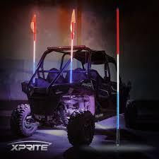 XPRITE 5ft Red White Blue LED Whip Lights And Flag Polaris RZR ATV ...