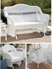 White Resin Wicker Patio Furniture Set Outdoor Glider Loveseat Chair Side Table