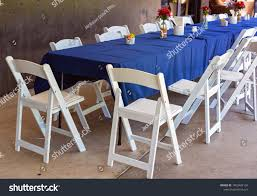 Long Outdoor Casual Dining Table Blue Stock Image | Download Now