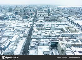 100 Birdview Ekaterinburg Winter Snow Stock Photo