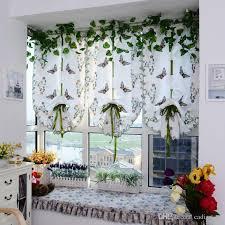 light filtering fabric fold roman shade butterfly printed window