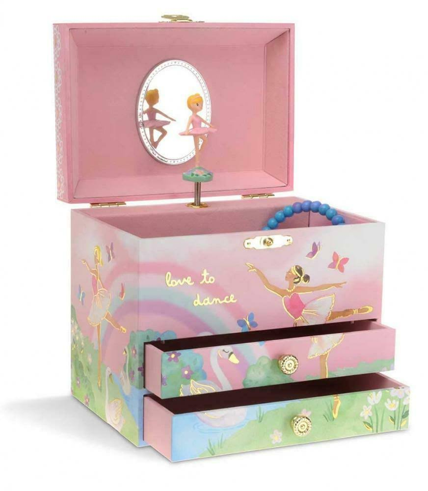 Jewelkeeper Ballerina and Rainbow Musical Jewellery Box with 2 Pull-Out Drawers, Swan Lake Tune