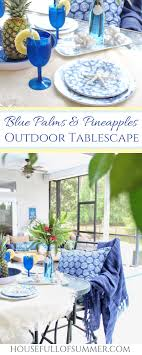 Blue Palms Pineapples Outdoor Tablescape