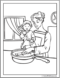 Mothers Day Coloring Page Mom And Daughter Together In The Kitchen