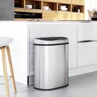 songmics mülleimer mit sensor 2 fächern 70l 2 x 35l automatischer abfalleimer mülltrennsystem abfallbehälter für die küche berührungslos silbern