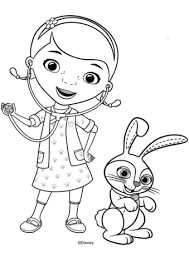 Doc McStuffins With Carrots Bunny Coloring Page