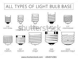 all types light bulb base technical stock vector 499213885
