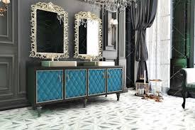 casa padrino luxus barock badezimmer set schwarz blau gold 1 waschtisch mit 4 türen und 2 waschbecken und 2 wandspiegel prunkvolle