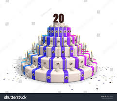 Big Happy Birthday Cake Candles Confetti Stock Illustration