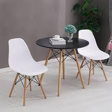 esstisch mit 2 stühlen weiß esszimmer essgruppe runde 70x70x75cm lässiger tisch skandinavischer stil mdf