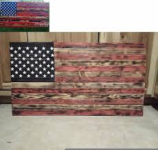 Wood Items Rustic American Flag Veteran Handmade Sturdy Frame Patriotic Wooden Art Usa