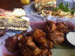 tasty burger and wings on hot beach day at daytona beach picture