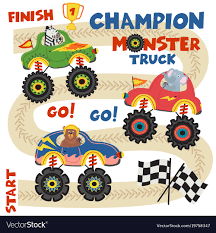 100 Monster Truck Race Trucks With Animals On Race Track Vector Image