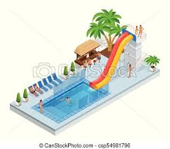 Isometric Aqua Park With Water Slides Pool People Or Visitors And Palms Vector Illustration Isolated On White Background