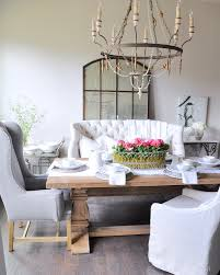 Cozy Dining Settee For Elegant Furniture Design Rustic Table With White