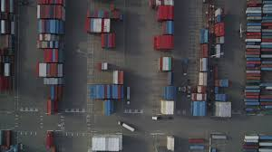 100 Shipping Containers California 5K Stock Footage Aerial Video Of A Birds Eye View Of Port Of Oakland Shipping Containers Aerial Stock Footage DFKSF06_017 Axiom Images